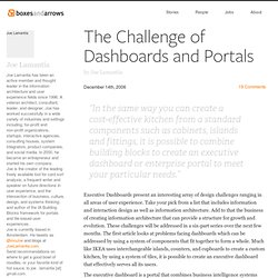 The Challenge of Dashboards and Portals