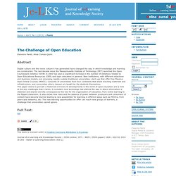 Journal of e-Learning and Knowledge Society