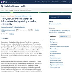 GLOBALIZATION AND HEALTH 18/02/21 Trust, risk, and the challenge of information sharing during a health emergency