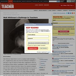Walt Whitman's Challenge to Teachers - Education Week Teacher