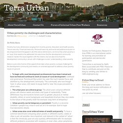Urban poverty: its challenges and characteristics