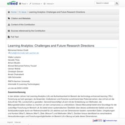 Learning Analytics: Challenges and Future Research Directions — eleed
