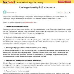Challenges faced by B2B ecommerce