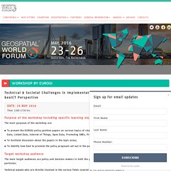 Workshop on GeoICT by EUROGI: Technical and Societal challenges of Geospatial Policies