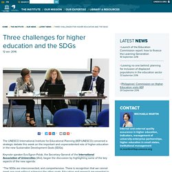 Three challenges for higher education and the SDGs