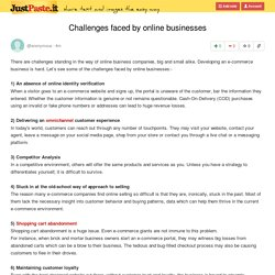 Challenges faced by online businesses
