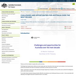 Challenges and opportunities for Australia over the next decade