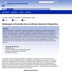 Challenges to Diversity from an African-American Perspective