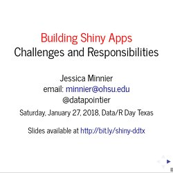 Building Shiny Apps Challenges and Responsibilities