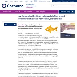 New Cochrane health evidence challenges belief that omega 3 supplements reduce risk of heart disease, stroke or death