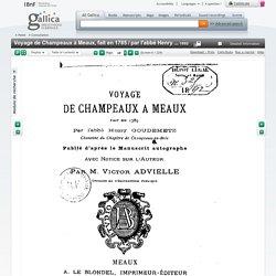 1785 Voyage de Champeaux à Meaux journal de l'abbé Henry Goudemetz