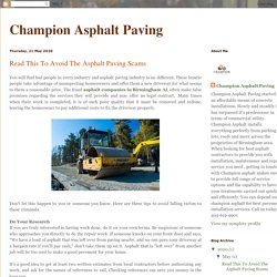 Read This To Avoid The Asphalt Paving Scams
