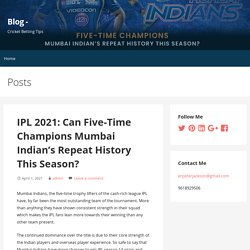 IPL 2021: Can Five-Time Champions Mumbai Indian's Repeat History This Season?