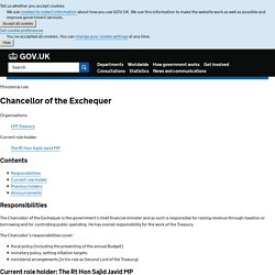 Ministerial role Chancellor of the Exchequer