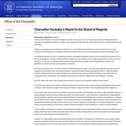 Chancellor Huckaby's Report to the Board of Regents - Office of the Chancellor - University System of Georgia