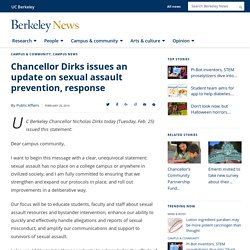 Chancellor Dirks issues an update on sexual assault prevention, response