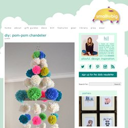 diy pom pom chandelier – neon boho mod craft decor – retro yarn pom mobile