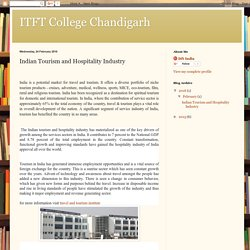 ITFT College Chandigarh: Indian Tourism and Hospitality Industry