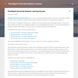 Chandigarh University Distance Learning Courses