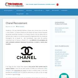 Chanel Recrutement France : Alternance, Stage, CDI et CDD