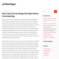 Here's How You Can Change the Swipe Actions in the Gmail App – 4YellowPages