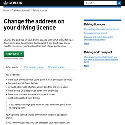 Change the address on your driving licence
