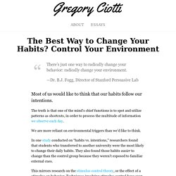 The Best Way to Change Your Habits? Control Your Environment