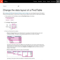 Change the data layout of a PivotTable - Excel