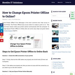 How to Change Epson Printer Offline to Online? 1-800-439-5196