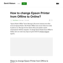How to change Epson Printer from Offline to Online?