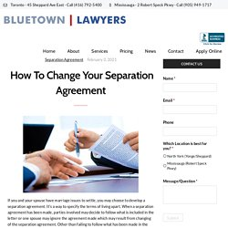 How To Change Your Separation Agreement