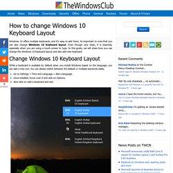 How to change Windows 10 Keyboard Layout