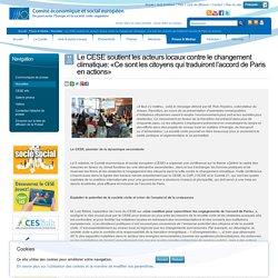 Le CESE soutient les acteurs locaux contre le changement climatique: «Ce sont les citoyens qui traduiront l'accord de Paris en actions»
