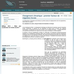 Changement climatique : premier facteur de migration forcée - Institut Amadeus