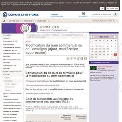 Changement de nom commercial ou d'enseigne - CCI Paris IDF
