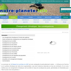Changement climatique : les conséquences - notre-planete.info