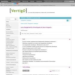 VertigO - La revue en sciences de l'environnement sur le WEB, Vol 1 No 2 , Septembre 2000 LES CHANGEMENTS CLIMATIQUES ET LEURS I