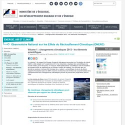 Volume 1 : changements climatiques 2013 - les éléments scientifiques