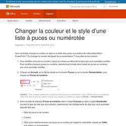Changer la couleur et le style d'une liste à puces ou numérotée - PowerPoint