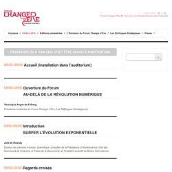 Forum Changer d'ère » Programme FCE2015