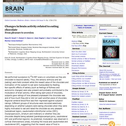 Changes in brain activity related to eating chocolate