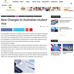 New Changes to Australian student visa