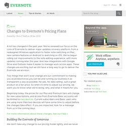 Changes to Evernote's Pricing Plans