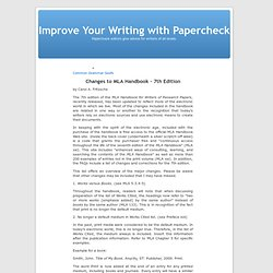 Changes to MLA Handbook – 7th Edition « Improve Your Writing with Papercheck