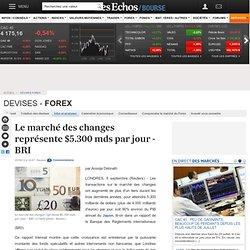 Le marché des changes représente $5.300 mds par jour - BRI, devises forex