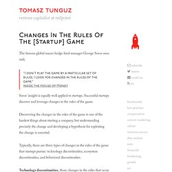 Changes in the rules of the [startup] game