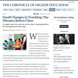Small Changes in Teaching: The Minutes Before Class