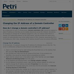 Changing the IP Address of a Domain Controller