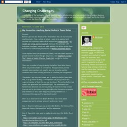 Changing Challenges: My favourite coaching tools: Belbin's Team Roles