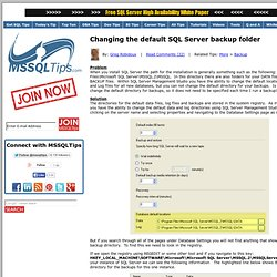 Changing the default SQL Server backup folder
